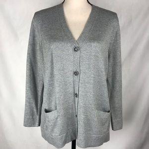Charter Club Sweater Grey Flat Pockets Large